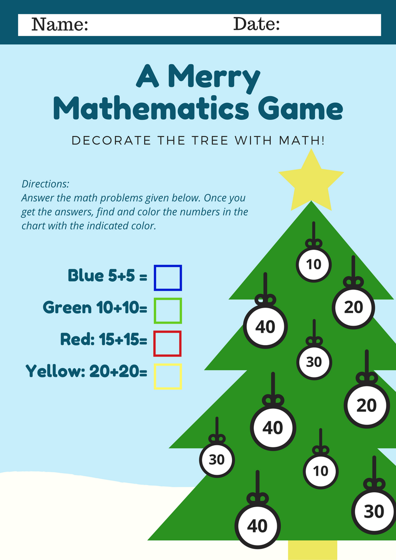 Christmas Tree Math Game - Mommies Reviews